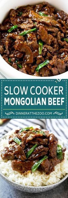 This slow cooker Mongolian beef is flank steak cooked with garlic, ginger, brown sugar and soy sauce. This crock pot recipe tastes just like a meal you would get at a Chinese restaurant!