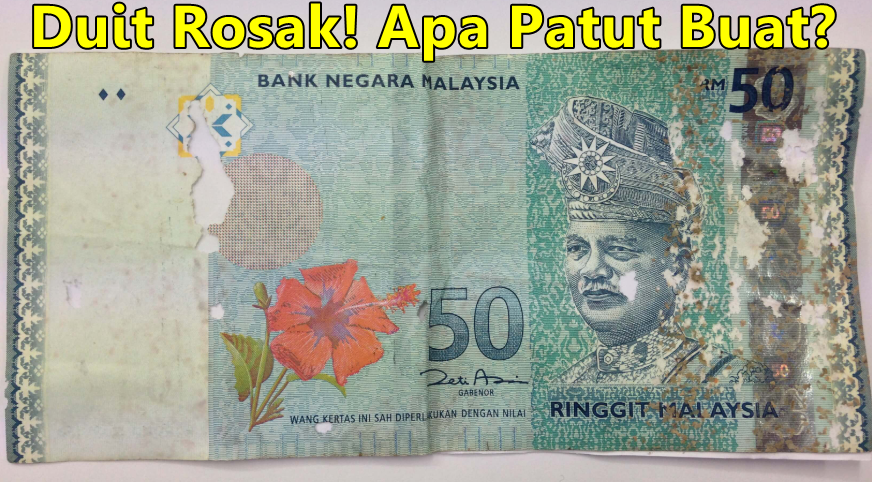 duit rosak tukar bank