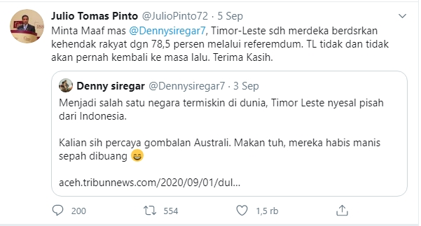 Denny Siregar Timor Leste menyesal pisah dari Indonesia