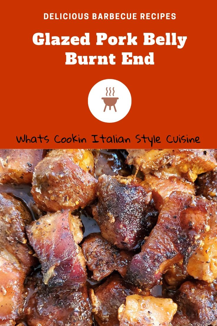 This is a pin for later how to make burnt ends using pork belly in a smoker glazed in a honey barbecue sauce