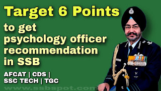 Target 6 points to get psychology officer recommendation in SSB