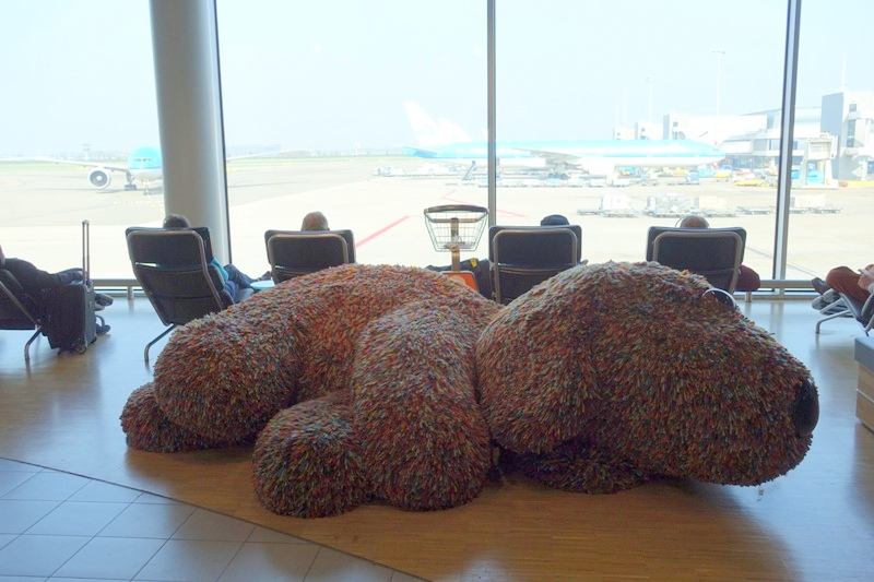 giant stuffed dog at Schiphol airport in the Netherlands