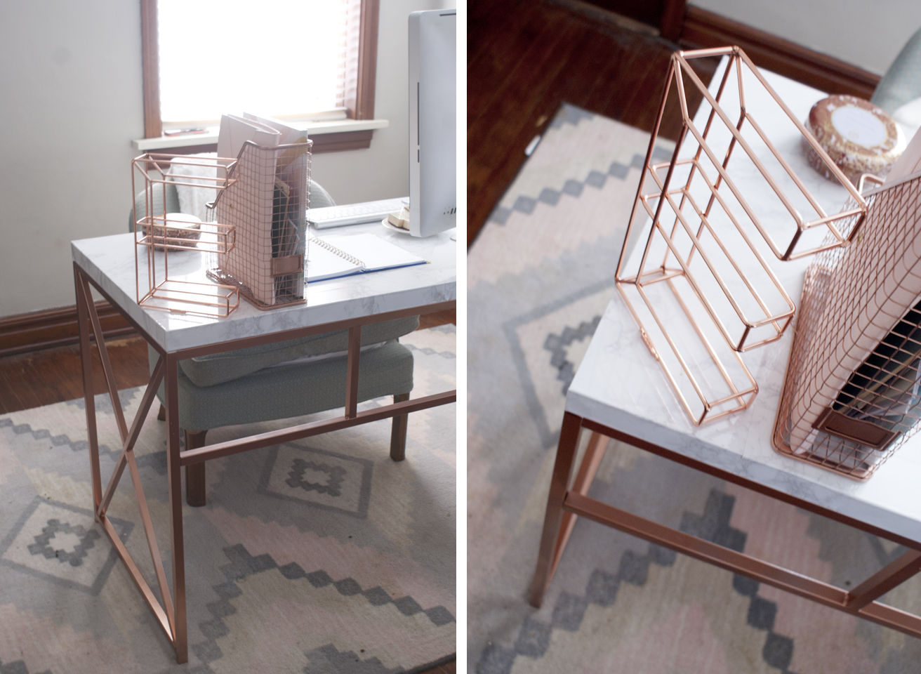 fox and gypsy Rose Gold  Marble Desk DIY