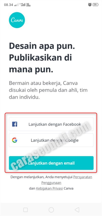 login aplikasi canva