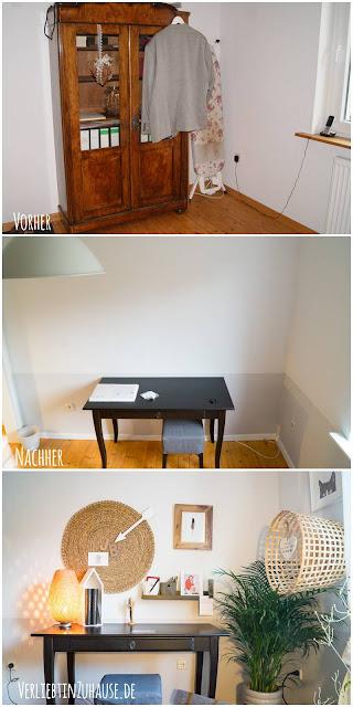 Vorher-Nachher: Ein neuer Schreibtisch schafft einen gemütlichen Arbeitsplatz