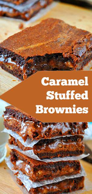 Caramel Stuffed Brownies #caramel #stuffed #brownies