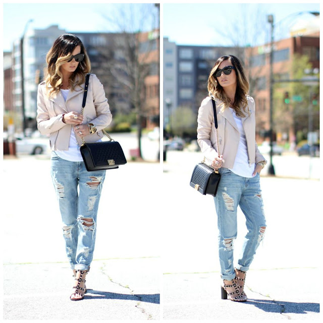 FATL Blush Leather Jacket and Studded Sandals