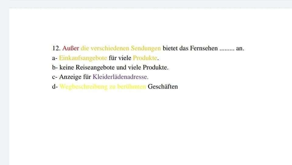 جمعية مدرسي اللغة الألمانية: 30 خطأ فني في امتحان اللغة الالمانية للثانوية العامة والقطعة مستوى A2 5