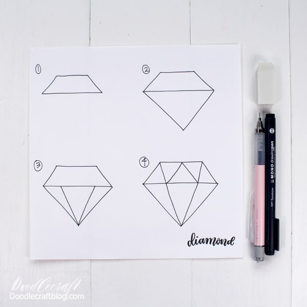 How to draw a Diamond! Just add sparkles! Perfect for drawing time with the kids or just to doodle during some relaxation time. 4 easy steps for a darling diamond! I remember trying over and over to draw a diamond when I was young and I couldn't get the trick of it...this little diagram helps a lot!