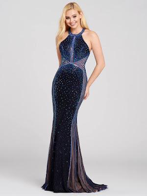 Ellie Wilde Halter Navy Blue Color Prom dress