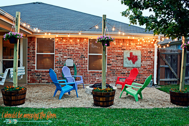 diy patio area with texas lamp posts