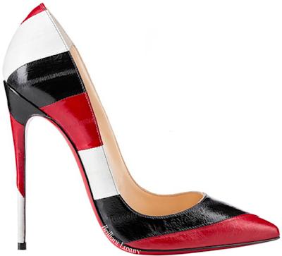 Red black white striped Christian Louboutin So Kate pumps #brilliantluxury