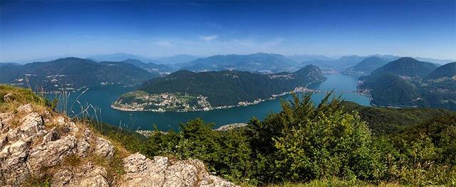 Panorama sul lago di Lugano dal Montorfano