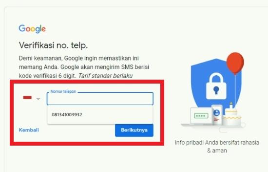 Permintaan Verifikasi Nomor Telepon Saat Daftar Gmail