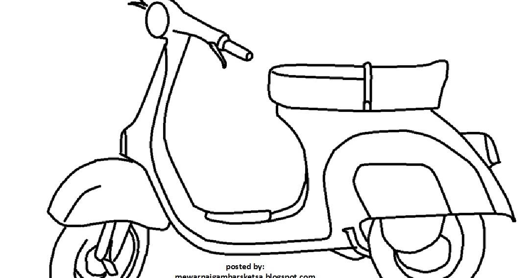 Sketsa Gambar Motor Vespa Garlerisket