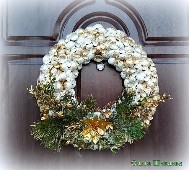 венок, новогодний, роджественский, эко. из природных метериалов