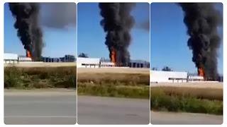 بالفيديو عاجل نشوب حريق هائل في مصنع سيكام بمجاز الباب