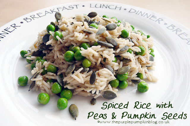 #Vegan #Vegetarian - Spiced Rice with Peas & Pumpkin Seeds