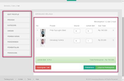 cart dengan yii, contoh penjualan web di yii