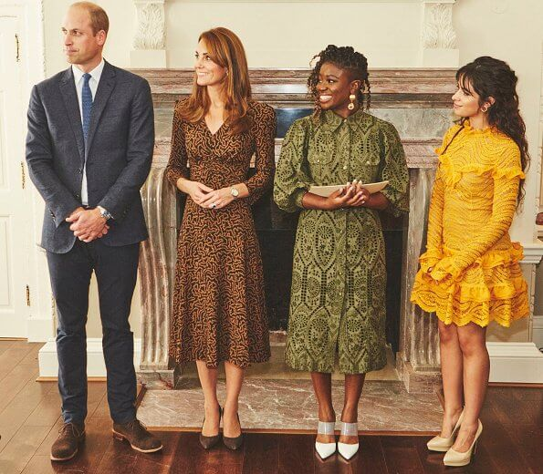 Kate Middleton wore L.K. Bennett Gabrielle coral print midi dress. Camila Cabello and Radio 1 DJs Clara Amfo and Greg James