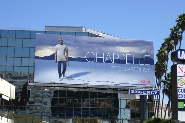 Chappelle Sticks Stones standup billboard