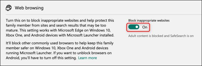 مايكروسوفت كتلة عائلة تصفح الإنترنت تبديل تبديل