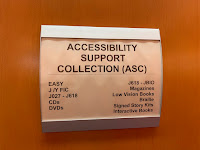 Shelving range endcap sign for Accessibility Support Collection