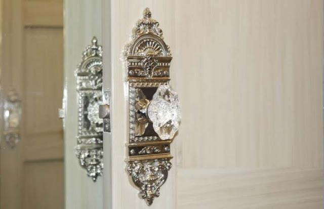 Crystal Door Knobs in Restroom Trailer