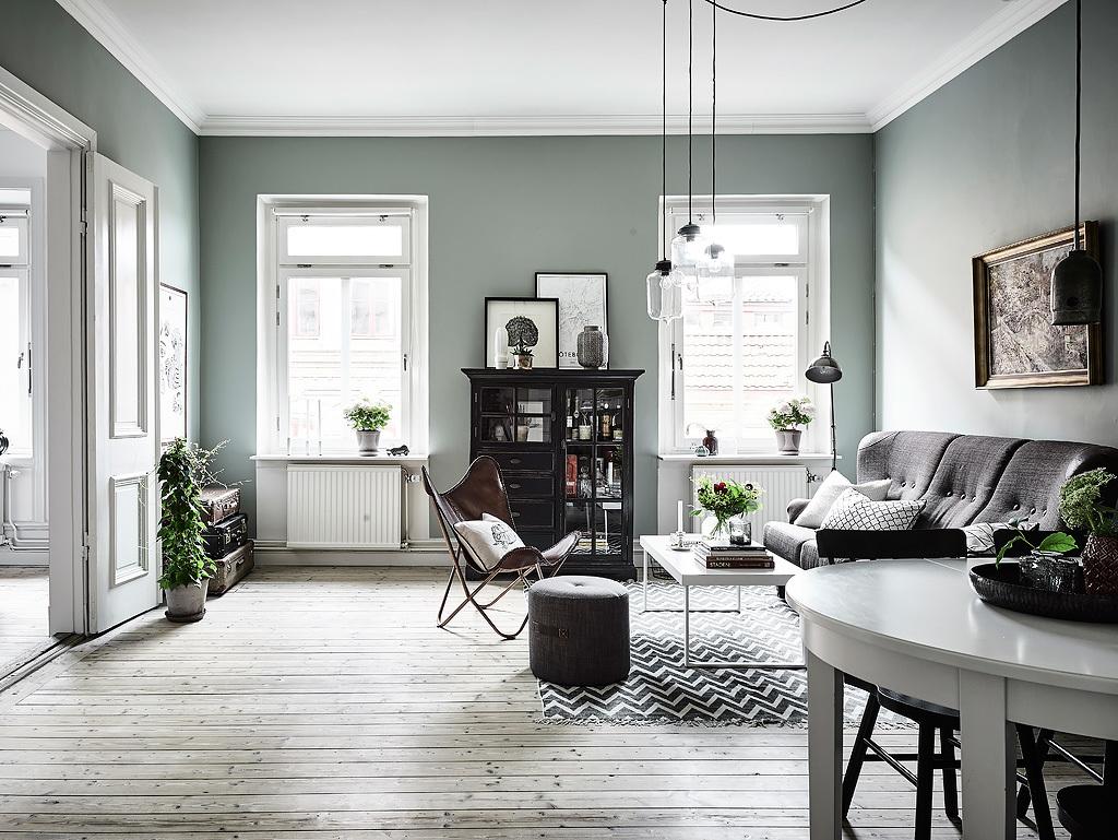 Lifestyle inspiracje przytulny salon - Vert de gris peinture ...
