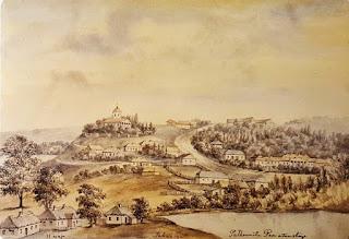 Tahańcza - lata 70. XIX wieku - widok z kościołem i dworem Poniatowskich