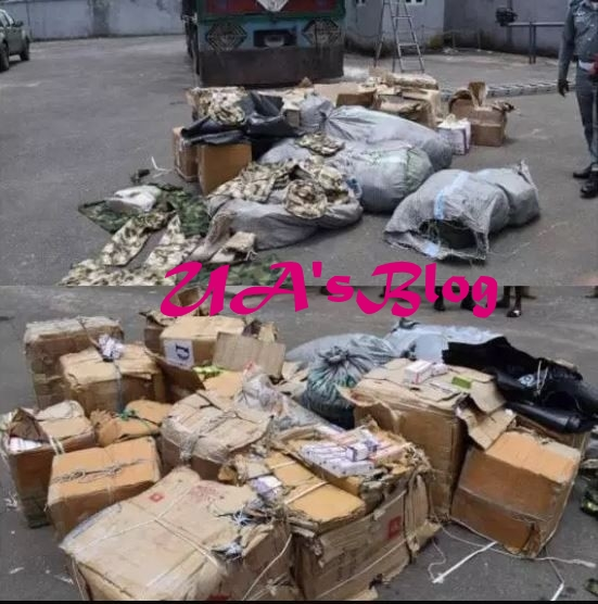 Customs Intercepts Truckload Of Military Hardware And Cartoons Of Tramadol In Anambra (Photo)