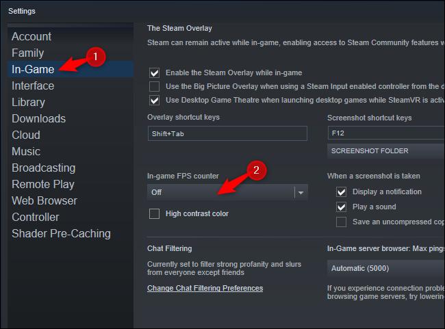 """حدد """"داخل اللعبة"""" وحدد خيارًا من مربع """"عداد FPS داخل اللعبة""""."""