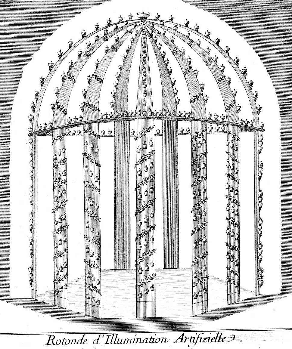a 1776 garden structure with many candles, an illustration