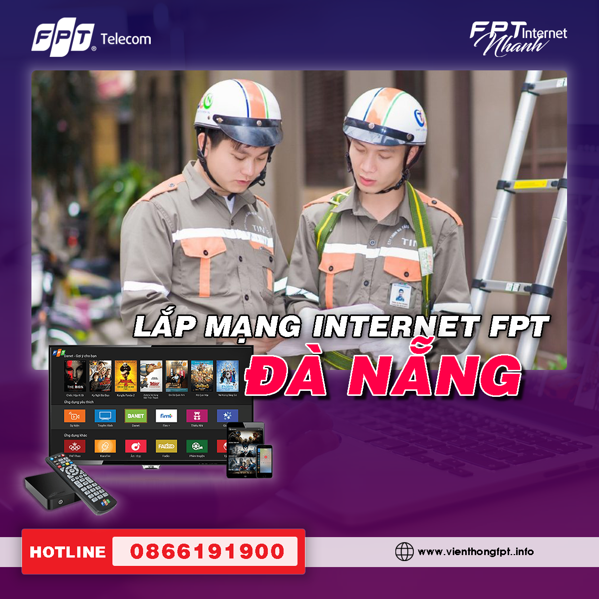 Đăng ký Internet FPT Đà Nẵng - Lắp đặt miễn phí - Trang bị Modem Wifi