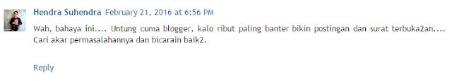 tanggapan atas surat terbuka dari blogger