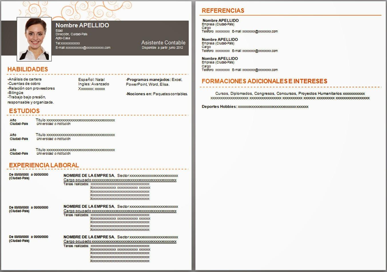 plantillas de curriculum vitae informacion descargadictos