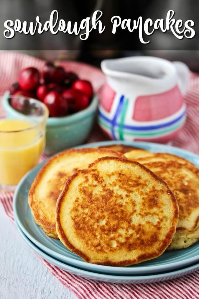 Sourdough pancakes with hibiscus flour syrup