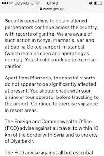 Μεσημέρι Κυριακής 17/7/2016. Οι μάχες μαίνονται στην Τουρκία. Από την επίσημη ιστοσελίδα της κυβέρνησης της Μεγάλης Βρετανίας μεταδίδονται ταξιδιωτικές πληροφορίες...