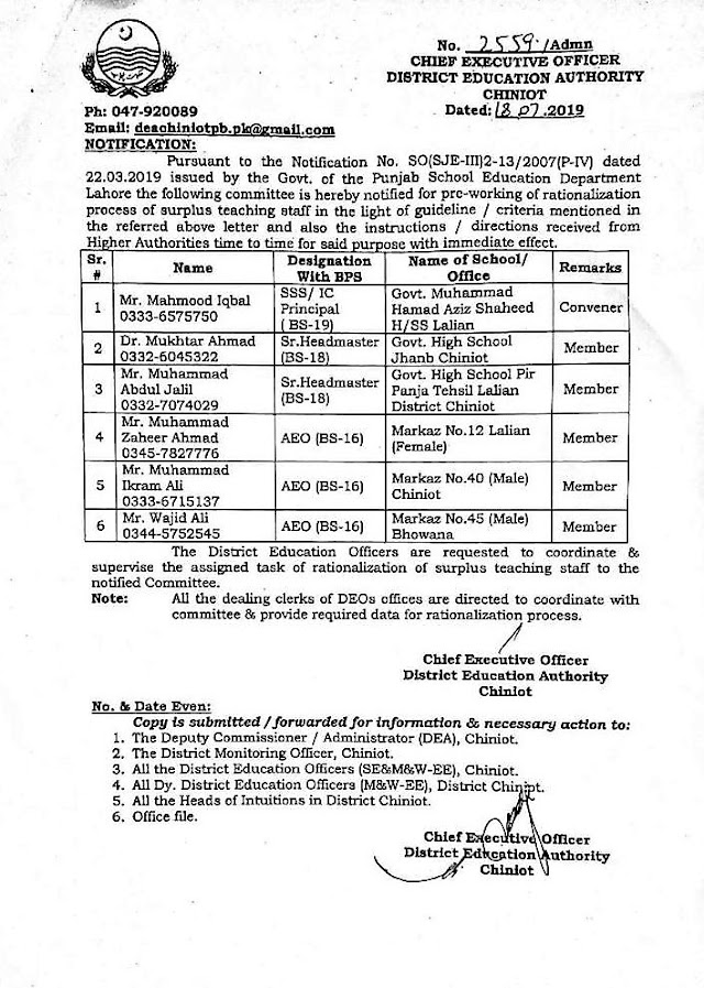 NOTIFICATION OF RATIONALIZATION  OF TEACHERS COMMITTEE DISTRICT CHINIOT