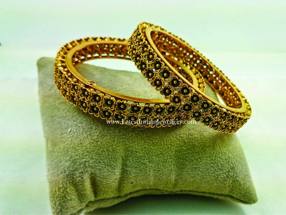 Intricate Gold Floral Bangles