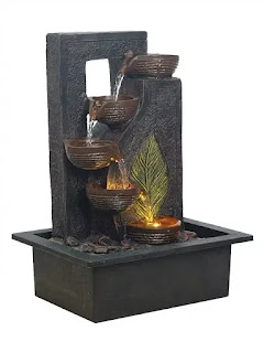 Chronikle Brown Leaf Design 5 Step Table Top Indoor Water Fountain with Led Light | Best Indoor Water Fountains | Best Water Fountains for Home in India