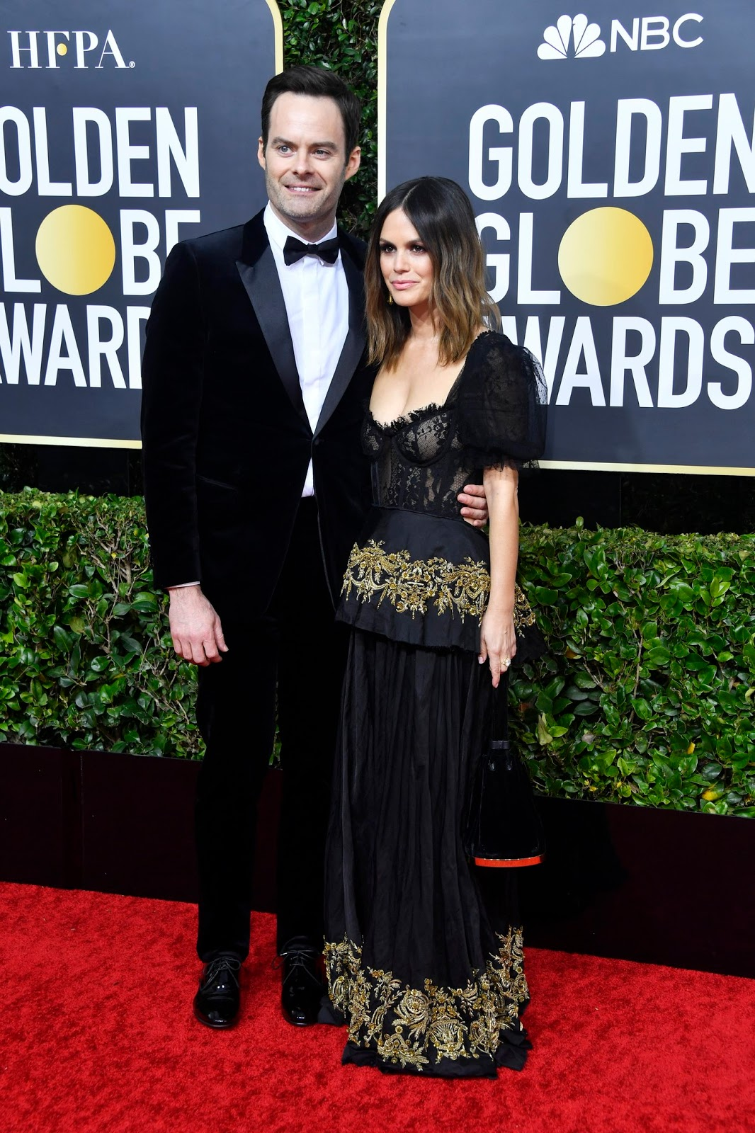 Bill Hader and Rachel Bilson at the 77th Annual Golden Globe Awards arrivals