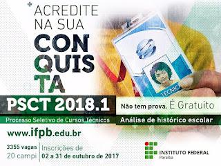 IFPB lança editais do PSCT 2018; confira