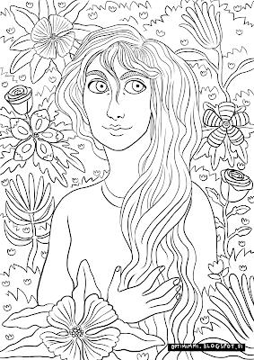 A coloring page of a lady and flowers / Värityskuva naisesta ja kukista