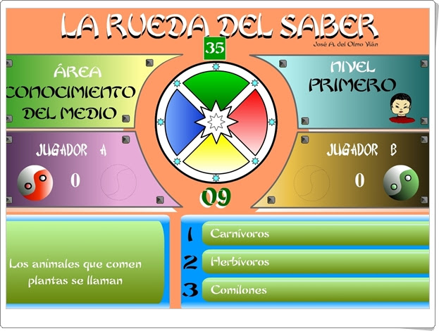 """JUEGOS DE FIN DE CURSO: """"La rueda del saber. Nivel I"""" (Juego multidisciplinar de 4º de Primaria)"""