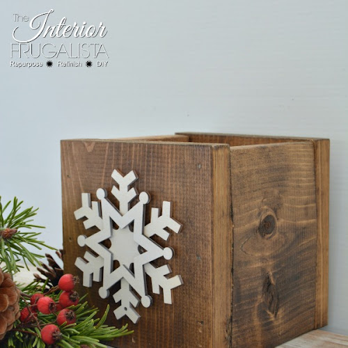 Rustic Wood Centerpiece Boxes repurposed for Christmas
