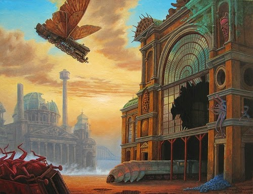 04-Bewildered-Locomotives-Marcin-Kołpanowicz-Painting-Architecture-in-Surreal-Worlds-www-designstack-co