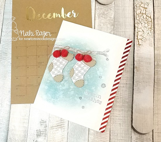 Christmas Stockings Card by Naki Rager | Stylish Stockings Stamp Set by Newton's Nook Designs #newtonsnook #handmade