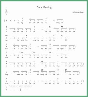 not angka lagu dara muning lagu daerah kalimantan barat