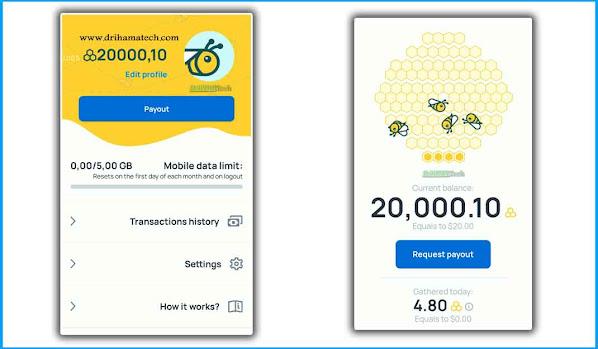 اثبات سحب من تطبيق HoneyGain